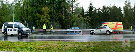 Car accident on Länsiväylä in Espoo, Finland