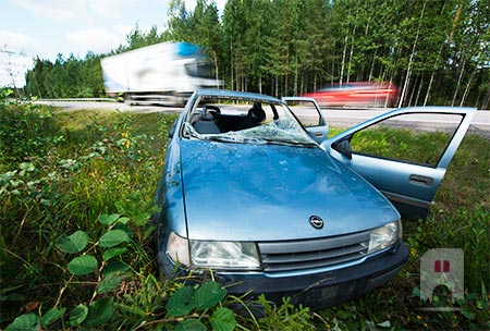 Remnants of a car accident near<br>Hyvink&#228;&#228;, Finland